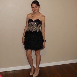 Sherri Hill Black Gold Embellished Feathered Dress